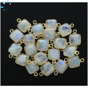 Rainbow Moonstone Faceted Square Connector 9.5x9.5 mm