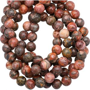 Red Lepord Skin Jasper Smooth Round Beads 8mm