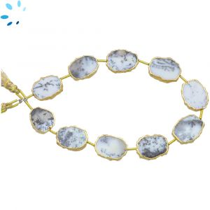 Dendrite Opal Regular Drill Slice Gold Electroplated 15x12 - 16x13mm