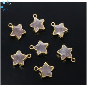 Rose Quartz Star Shape 10x10 mm Electroplated