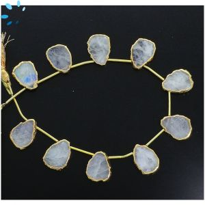 Rainbow Moonstone Top Drill Slice Gold Electroplated 15x12 - 17x13 mm