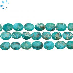 Kingman Turquoise Faceted Flat Connector Nuggets 10x8 - 12x9 mm