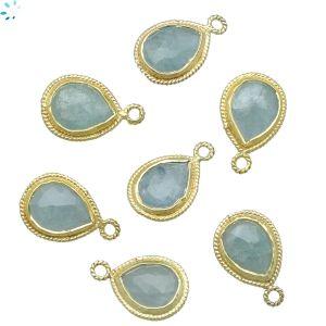 Sterling Silver Gold Plated Aquamarine Twist Wire Bezel Pear Shape 11x9mm