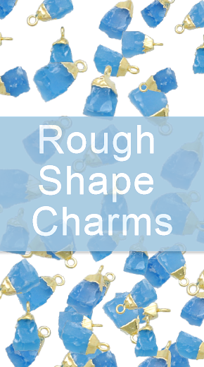 Electroplated gemstone rough charms
